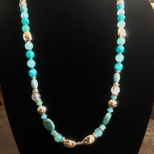 Teal green and gold long necklace